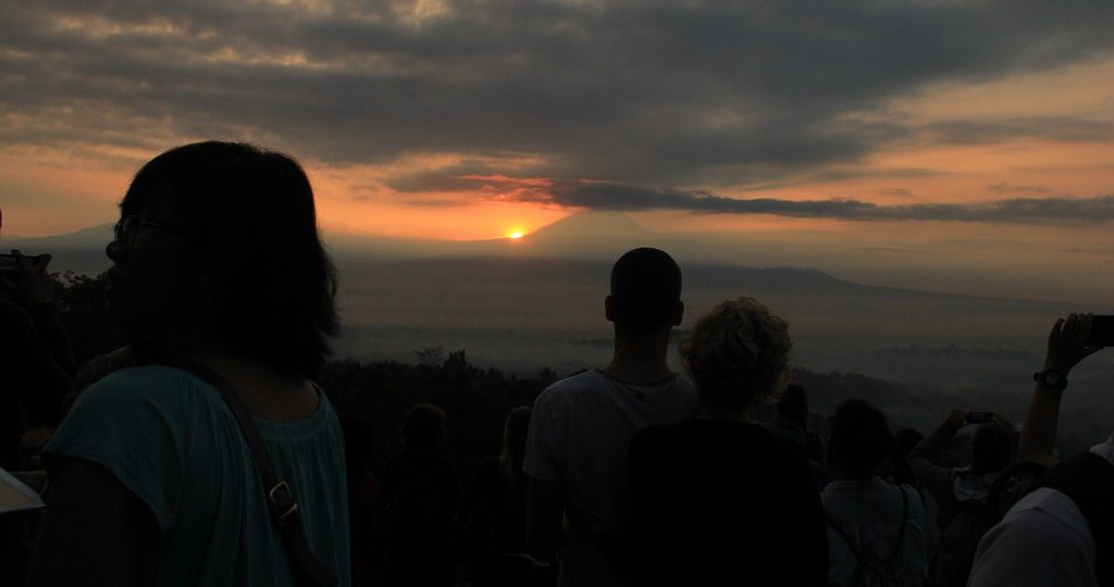 The morning charm at Punthuk Setumbu hill Borobudur