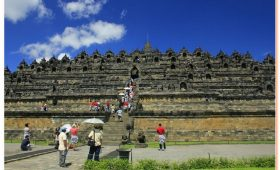 Borobudur is the biggest Buddhist temple in the ninth century measuring 123 x 123 meters.