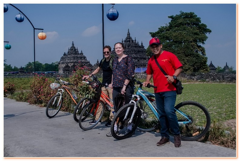 We go to Prambanan temple complex by bicycle.We go to Prambanan temple complex by bicycle.